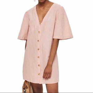 Topshop Angel Sleeve Linen Blend Dress